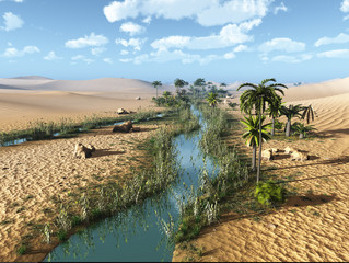 3D Created and Rendered Fantasy Desert Landscape with Oasis