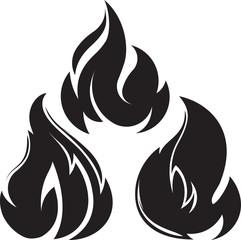 Set of 3 black fires for design or tattoo.