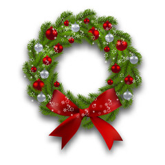 Christmas wreath. Green branch of fir with red, silver balls and ribbon on a white background. Christmas cards. illustration