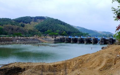 "dam named ""Bendung Gerak Serayu"",  under renovation, located on a  Serayu river, Indonesia"