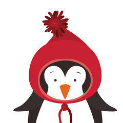 penguin with hat cartoon icon. Merry Christmas season decoration figure theme. Isolated design. Vector illustration