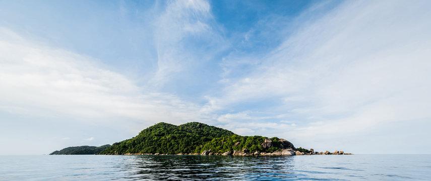 Tropical caribbean island in open ocean