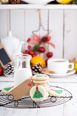 Christmas tree cookies with milk