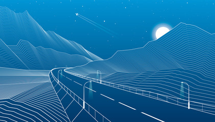 Road into the mountains, highway, mountain landscape, white lines on blue background, vector design art