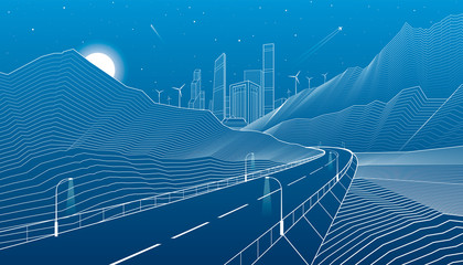 Highway in mountains, night scene, neon city and business buildings on background, white lines landscape, vector design art