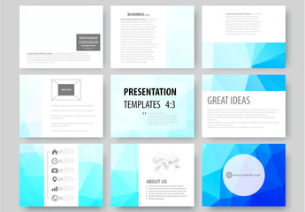 9 Presentation Slides with Blue Geometric Design Element
