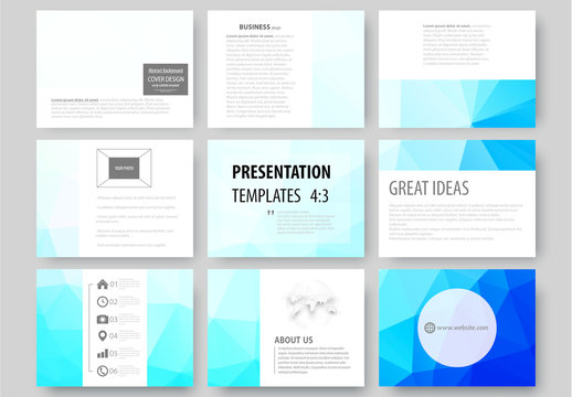 9 Presentation Slides with Blue Geometric Design Element