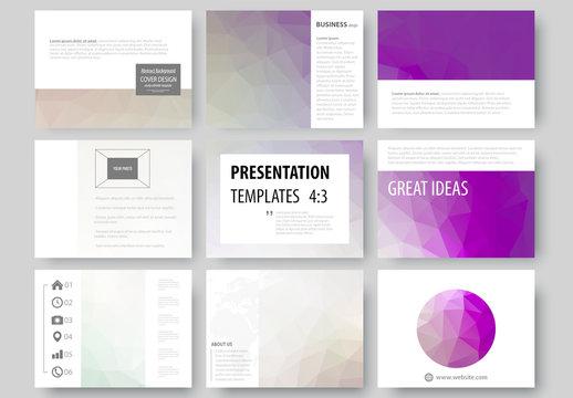 9 Presentation Slides with Purple Tone Geometric Design Element