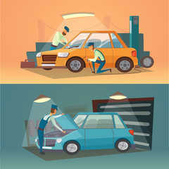 Scenes of car repair vector illustration. Workers in service tire and auto business. Cartoon garage