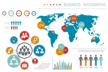 Business people world map infographic vector illustration