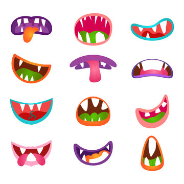 Cute animal face expressions and emotions. Funny cartoon monster comic mouth set