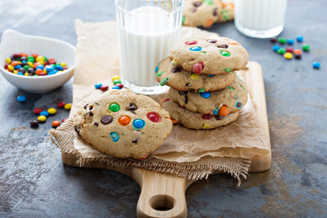 Chocolate chip and candy cookie