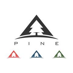 Pine Trees Triangel Illustration Design Logo