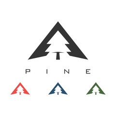 Pine Trees Triangel Design Logo Vector