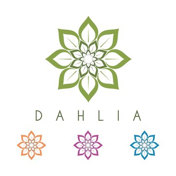 Purple Dahlia Flower Logo Vector Design
