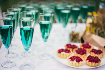 Wedding party buffet with champagne, canape, sandwiches and tartlets
