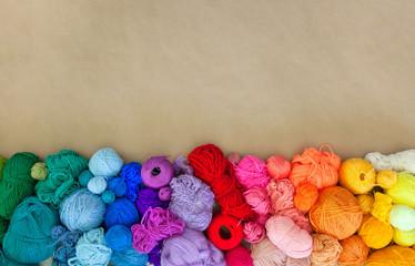 Colored yarn in hanks. Wool yarn.