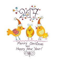 Three funny chicken in Christmas cap. 2017. Merry Christmas and Happy New Year!