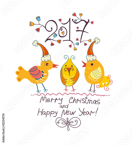Three funny chicken in Christmas cap. 2017. Merry Christmas and ...