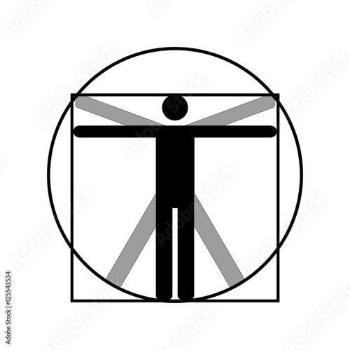 Leonardo Da Vinci Vitruvian Man Vector Icon Symbol Design