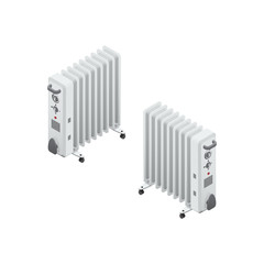 White oil heater Isometric Vector Illustration