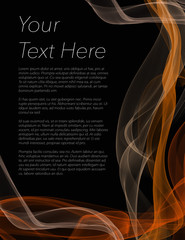 Leaflet, poster or flyer with black background and orange colour