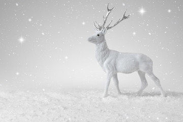 Snow falling on a White Christmas Reindeer