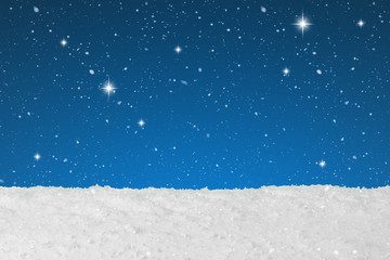 Christmas background concept showing snow falling and stars