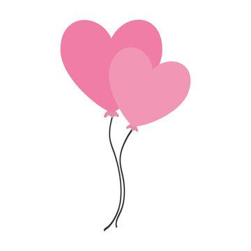 balloons air heart isolated icon vector illustration design