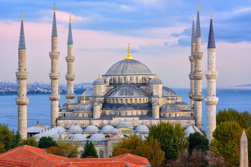 Blue Mosque and Bosphorus, Istanbul, Turkey
