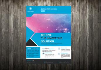 Business Flyer Layout with Triangular Design Element