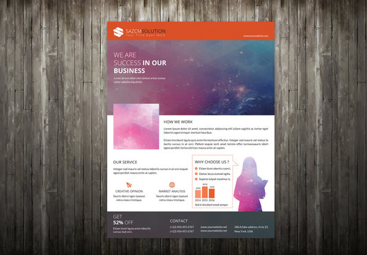 Business Flyer Layout with Silhouette Design Element