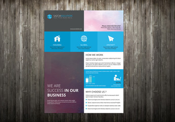 Corporate Flyer Layout with Repeating Square Design Element