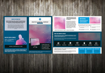 Technology Brochure Layout with Silhouette Element