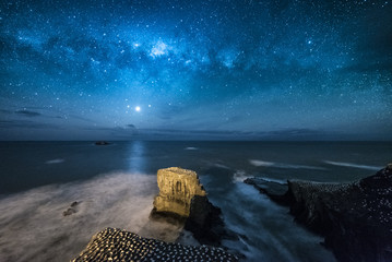 Milky way over Muriwai gannet colony, Auckland, New Zealand