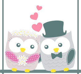 cute owls couple on swing isolated on white background