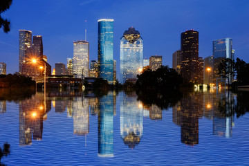 Reflection view of Downtown Houston city, Texas in a beautiful day at night