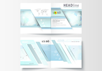 Square Brochure Layout with Cool Tone Geometric Design Element 12