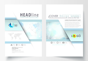 A4 Brochure Layout with Cool Tone Geometric Design Element 12