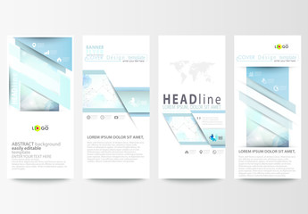 Vertical Flyer Layout with Cool Tone Geometric Design Element 3
