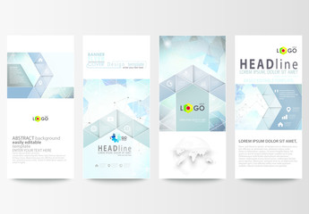 Vertical Flyer Layout with Cool Tone Geometric Design Element 4
