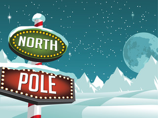 North Pole sign in a snowy Christmas scene. EPS 10 vector.