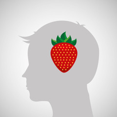 silhouette head with tasty strawberry icon graphic vector illustration eps 10