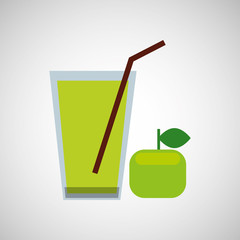 fresh juice green apple and cup glass straw design vector illustration eps 10