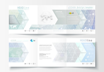 Square Trifold Brochure with a DNA Strand Design Element 1