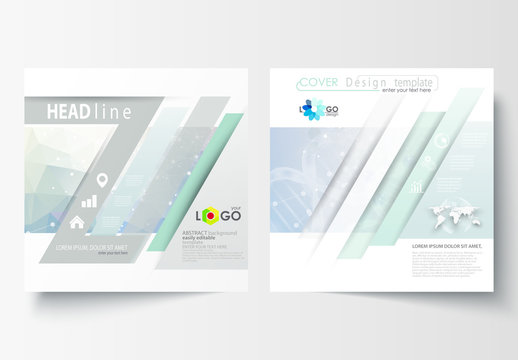 Square Brochure with a DNA Strand Design Element 3