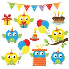 Owl birthday vector cartoon illustration