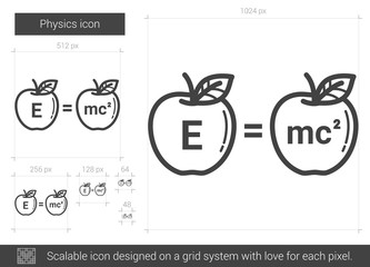 Physics line icon.
