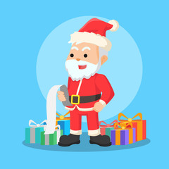 santa reading list vector illustration design