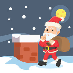 santa inside house vector illustration design